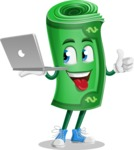 Money Cartoon Vector Character - With a Laptop