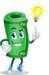 Money Cartoon Vector Character - With a Light Bulb