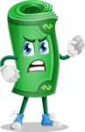 Money Cartoon Vector Character - With Angry Face