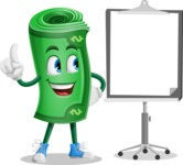 Money Cartoon Vector Character - With Blank Presentation Board