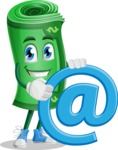 Money Cartoon Vector Character - With Email Sign - Web