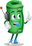 Money Cartoon Vector Character - With Headphones