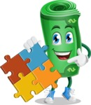 Money Cartoon Vector Character - with Puzzle