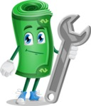 Money Cartoon Vector Character - with Repairing tool - wrench