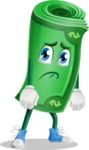 Money Cartoon Vector Character - With Sad Face
