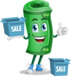Money Cartoon Vector Character - With Sale Boxes