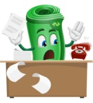 Money Cartoon Vector Character - Working On Desk and Stressed from Work