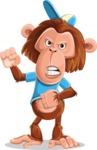 Macaque Monkey With T-Shirt and a Hat Cartoon Vector Character AKA Ron K - Angry