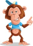 Macaque Monkey With T-Shirt and a Hat Cartoon Vector Character AKA Ron K - Attention