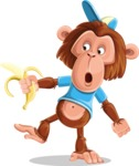 Macaque Monkey With T-Shirt and a Hat Cartoon Vector Character AKA Ron K - Banana