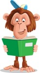 Macaque Monkey With T-Shirt and a Hat Cartoon Vector Character AKA Ron K - Book 1