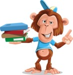 Macaque Monkey With T-Shirt and a Hat Cartoon Vector Character AKA Ron K - Book 2