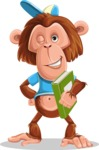 Macaque Monkey With T-Shirt and a Hat Cartoon Vector Character AKA Ron K - Book 3
