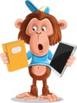 Macaque Monkey With T-Shirt and a Hat Cartoon Vector Character AKA Ron K - Book and iPad