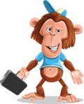 Macaque Monkey With T-Shirt and a Hat Cartoon Vector Character AKA Ron K - Briefcase 1