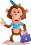 Macaque Monkey With T-Shirt and a Hat Cartoon Vector Character AKA Ron K - Briefcase 2
