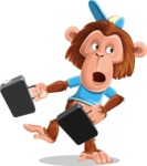Macaque Monkey With T-Shirt and a Hat Cartoon Vector Character AKA Ron K - Briefcase 3