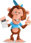 Macaque Monkey With T-Shirt and a Hat Cartoon Vector Character AKA Ron K - Calculator