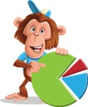 Macaque Monkey With T-Shirt and a Hat Cartoon Vector Character AKA Ron K - Chart