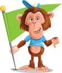 Macaque Monkey With T-Shirt and a Hat Cartoon Vector Character AKA Ron K - Checkpoint