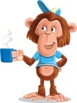 Macaque Monkey With T-Shirt and a Hat Cartoon Vector Character AKA Ron K - Coffee