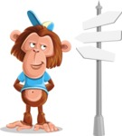 Macaque Monkey With T-Shirt and a Hat Cartoon Vector Character AKA Ron K - Crossroad