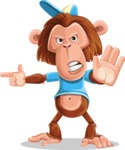 Macaque Monkey With T-Shirt and a Hat Cartoon Vector Character AKA Ron K - Direct Attention