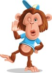 Macaque Monkey With T-Shirt and a Hat Cartoon Vector Character AKA Ron K - Duckface