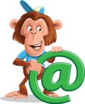 Macaque Monkey With T-Shirt and a Hat Cartoon Vector Character AKA Ron K - Email