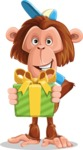 Macaque Monkey With T-Shirt and a Hat Cartoon Vector Character AKA Ron K - Gift