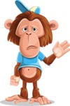 Macaque Monkey With T-Shirt and a Hat Cartoon Vector Character AKA Ron K - Goodbye