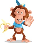 Macaque Monkey With T-Shirt and a Hat Cartoon Vector Character AKA Ron K - Hello