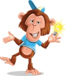 Macaque Monkey With T-Shirt and a Hat Cartoon Vector Character AKA Ron K - Idea 1