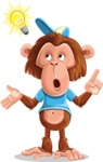 Macaque Monkey With T-Shirt and a Hat Cartoon Vector Character AKA Ron K - Idea 2