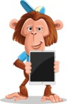 Macaque Monkey With T-Shirt and a Hat Cartoon Vector Character AKA Ron K - iPad 1