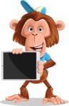 Macaque Monkey With T-Shirt and a Hat Cartoon Vector Character AKA Ron K - iPad 2