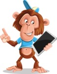 Macaque Monkey With T-Shirt and a Hat Cartoon Vector Character AKA Ron K - iPad 3