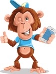 Macaque Monkey With T-Shirt and a Hat Cartoon Vector Character AKA Ron K - iPhone