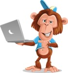 Macaque Monkey With T-Shirt and a Hat Cartoon Vector Character AKA Ron K - Laptop 1