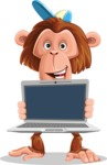 Macaque Monkey With T-Shirt and a Hat Cartoon Vector Character AKA Ron K - Laptop 2