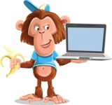 Macaque Monkey With T-Shirt and a Hat Cartoon Vector Character AKA Ron K - Laptop 3