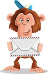 Macaque Monkey With T-Shirt and a Hat Cartoon Vector Character AKA Ron K - Letter