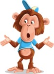 Macaque Monkey With T-Shirt and a Hat Cartoon Vector Character AKA Ron K - Lost