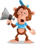Macaque Monkey With T-Shirt and a Hat Cartoon Vector Character AKA Ron K - Loudspeaker