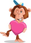 Macaque Monkey With T-Shirt and a Hat Cartoon Vector Character AKA Ron K - Love