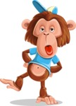 Macaque Monkey With T-Shirt and a Hat Cartoon Vector Character AKA Ron K - Making Face