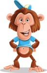 Macaque Monkey With T-Shirt and a Hat Cartoon Vector Character AKA Ron K - Normal