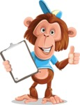 Macaque Monkey With T-Shirt and a Hat Cartoon Vector Character AKA Ron K - Notepad 1