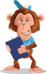 Macaque Monkey With T-Shirt and a Hat Cartoon Vector Character AKA Ron K - Notepad 2