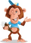 Macaque Monkey With T-Shirt and a Hat Cartoon Vector Character AKA Ron K - Notepad 3